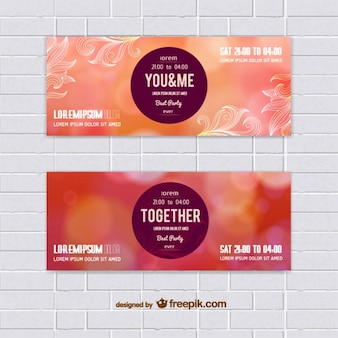 Set of warm colors banners