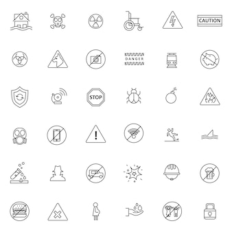 Set of warning or caution icon