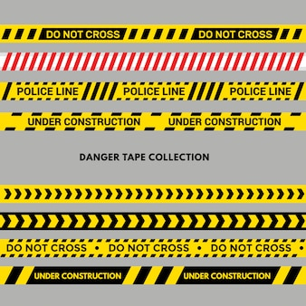 Set of warning or danger tapes. black and yellow police stripe
