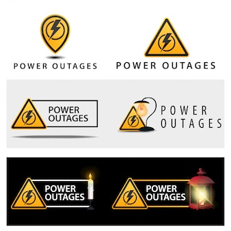 A set of warning signs about a power outage