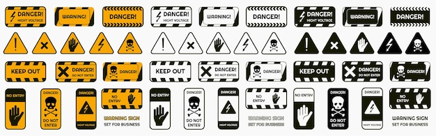 Set of warning signs of the danger and caution