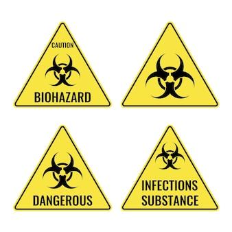 Set of warning yellow signs