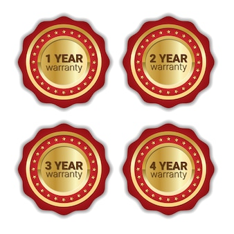 Set of warranty badge golden emblem collection isolated