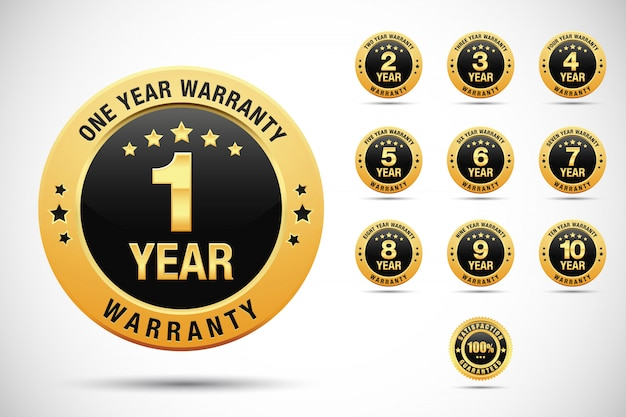 Set of warranty golden and silver labels and badges isolated