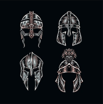 Set of warrior helmets, hand drawn line style with digital color,  illustration