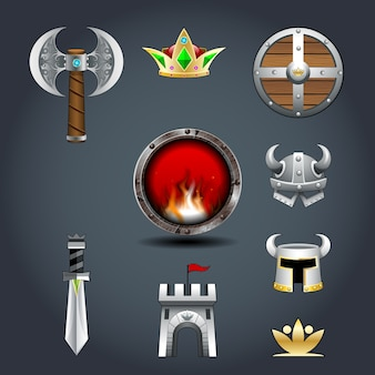 Set of warrior's game icons