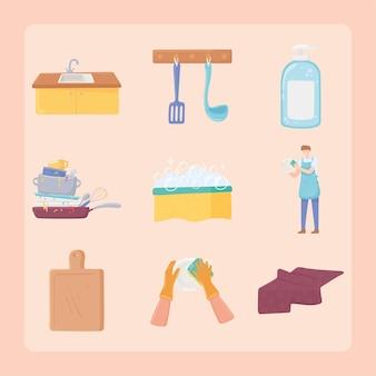 Set of washing dishes