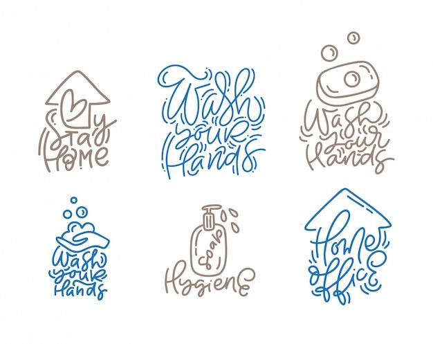 Set of washing hands lettering