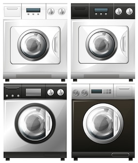Set of washing machines in different designs illustration
