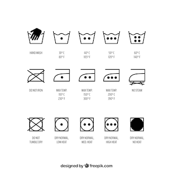 Set of washing symbols, vector set