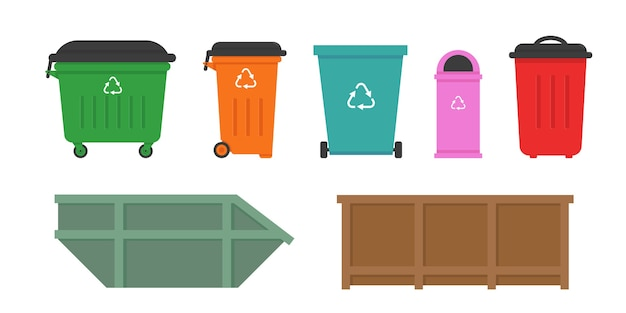 Set of waste dumpsters for street and home.