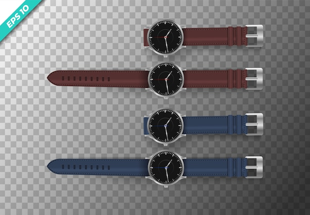 Set of watches top side illustration. vector