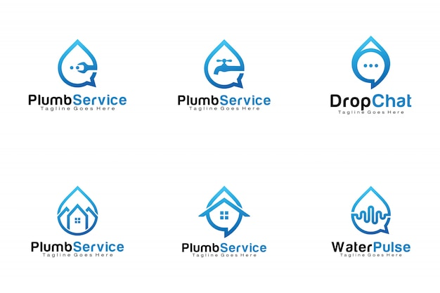Set of water drop logos