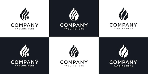 Set of water drop or olive oil icon design logo