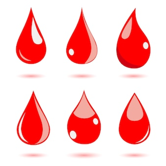 Set of water drops in red colors. flat