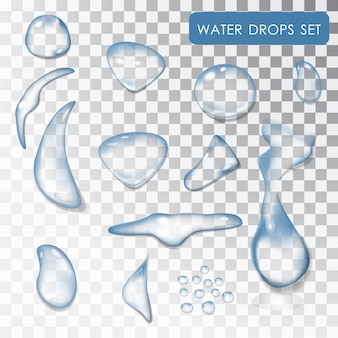 Set of water drops. transparent individual droplets of water.  water. drip of water, the liquid. . pure water. wet effect. isolated objects.