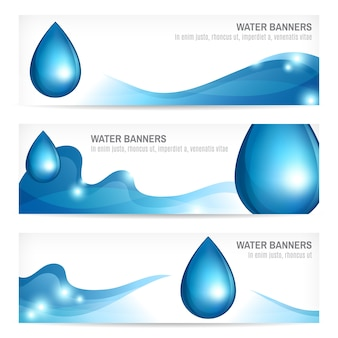 Set of water drops wavy abstract nature splash banners design vector illustration