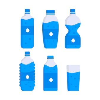 Set of water plastic bottles