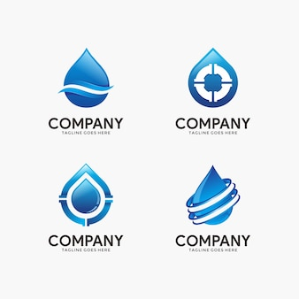 Set of water and plumbing logo design template