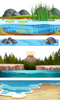 Set of water scenes