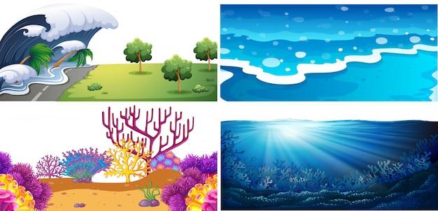 Set of water scenes