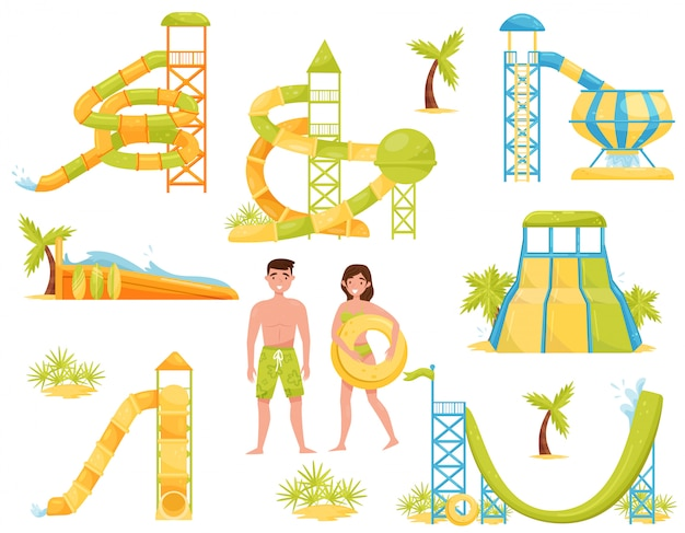 Set of water slides, surfing wave pool and people in swimming suits. aqua park equipment. extreme attractions