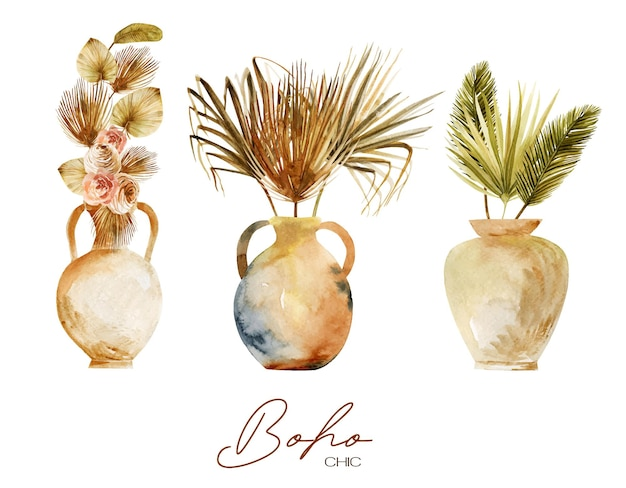 Set of watercolor antique vases and pottery with dried fan palm leaves and flowers