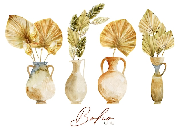 Set of watercolor antique vases and pottery with dried fan palm leaves