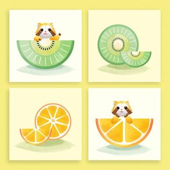 Set of watercolor art of cartoon cute raccoon and fruits.