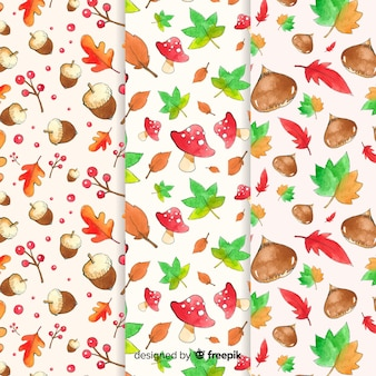 Set of watercolor autumn patterns