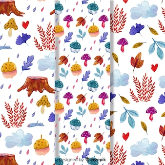 Set of watercolor autumn patterns