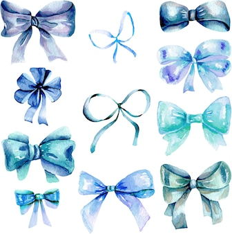 Set of watercolor blue bows