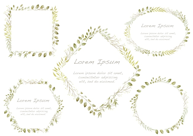 Set of watercolor botanical frames isolated on a white background.