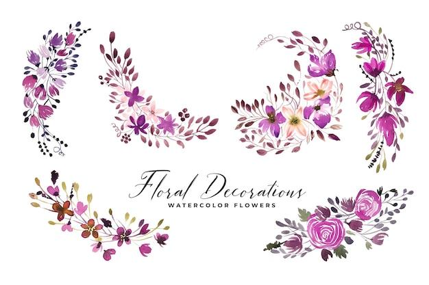 Set di mazzi di fiori acquerello e fiori