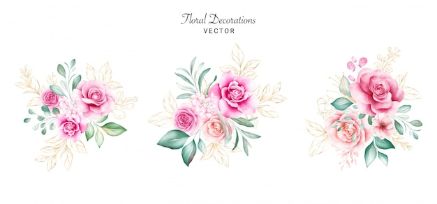 Set of watercolor bouquets for logo or wedding card composition. botanic decoration illustration of peach and red roses, leaves, branches, and gold glitter