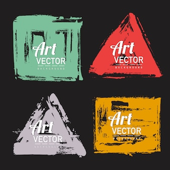 Set of watercolor brush shape banner