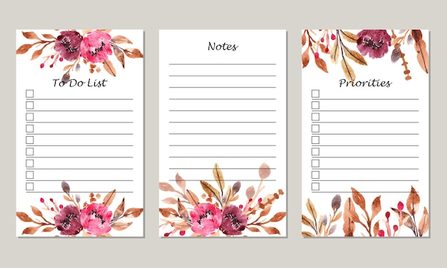 Set of watercolor burgundy floral notes to do list template