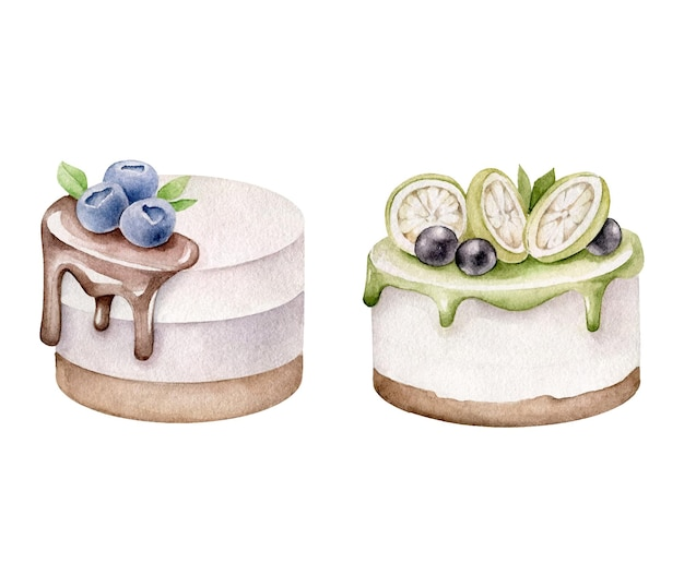 Set of watercolor cakes isolated on white