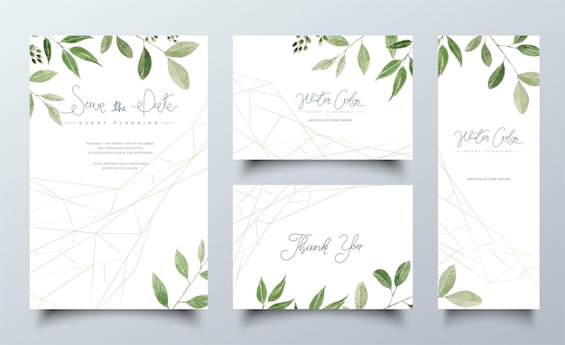 Set of watercolor cards with green leaves
