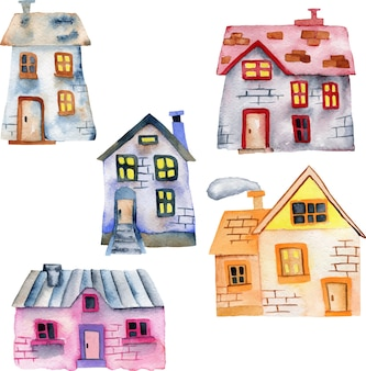 Set of watercolor cartoon private houses
