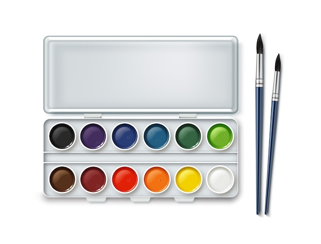 Set of watercolor in case with two paintbrushes