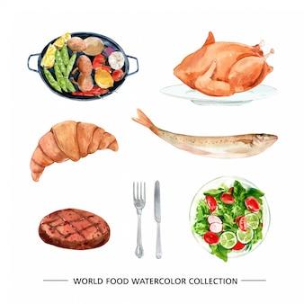 Set of watercolor chicken, croissant, steak illustration
