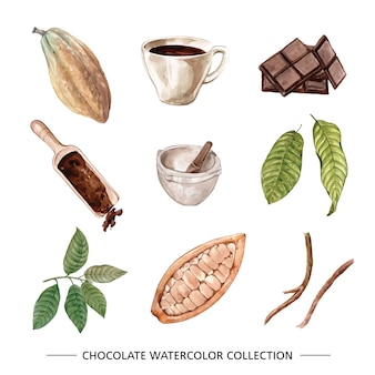 Set of watercolor chocolate illustration of on white background.