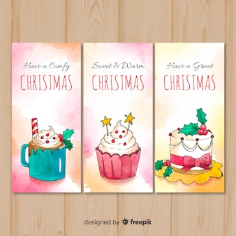 Set of watercolor christmas cards