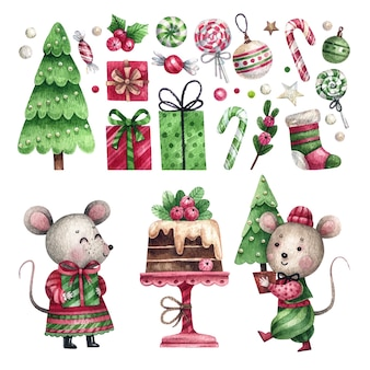 Set of watercolor christmas elements and mice couple
