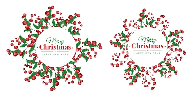 Set of watercolor christmas frame logo with green leaf and red ball