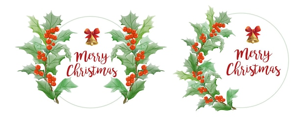 Set of watercolor christmas frame logo with leaf and bell