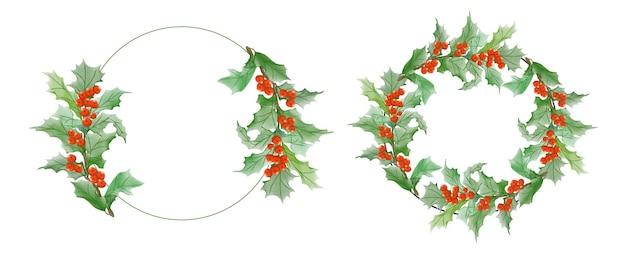 Set of watercolor christmas frame logo