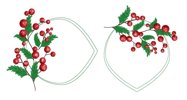 Set of watercolor christmas frame with green leaf and red ball