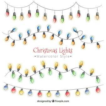 Set of watercolor christmas lights garlands